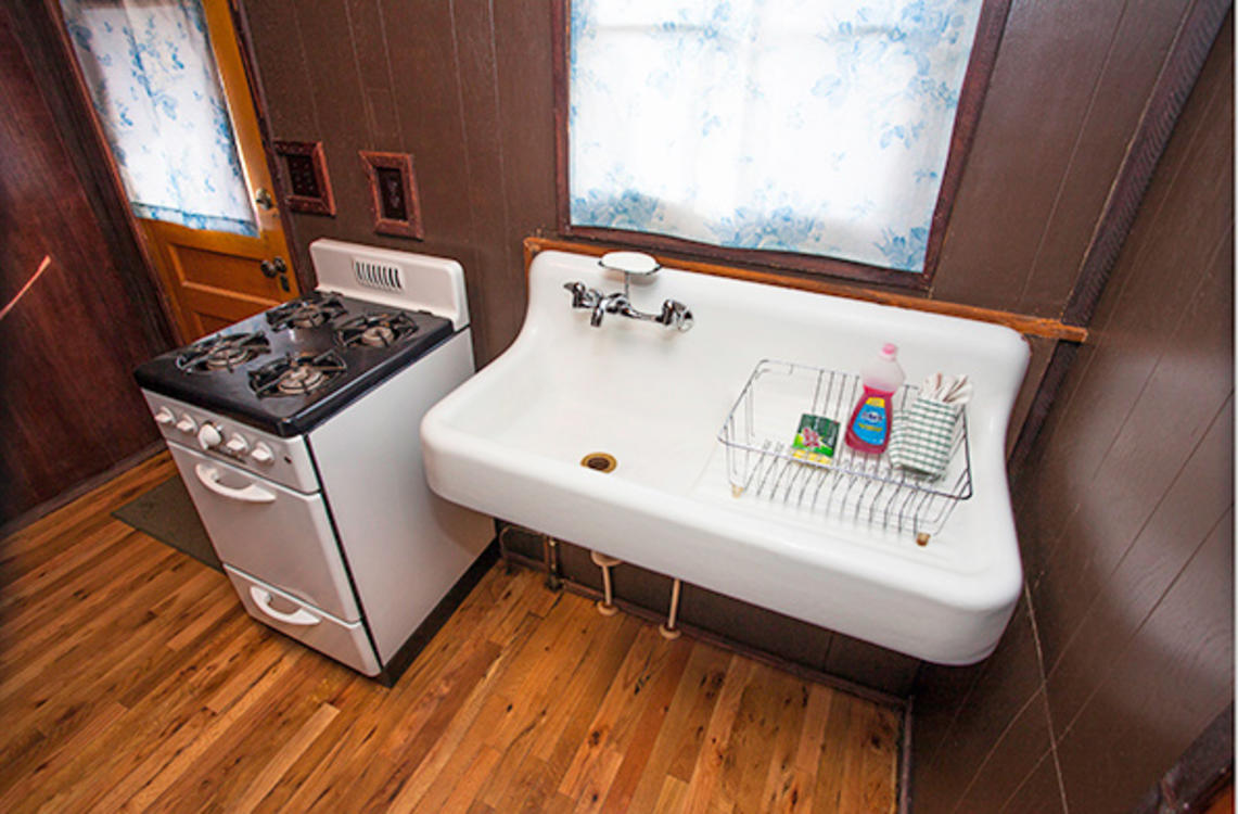 Tiny Town Upgraded Cabin Alternate Kitchen View