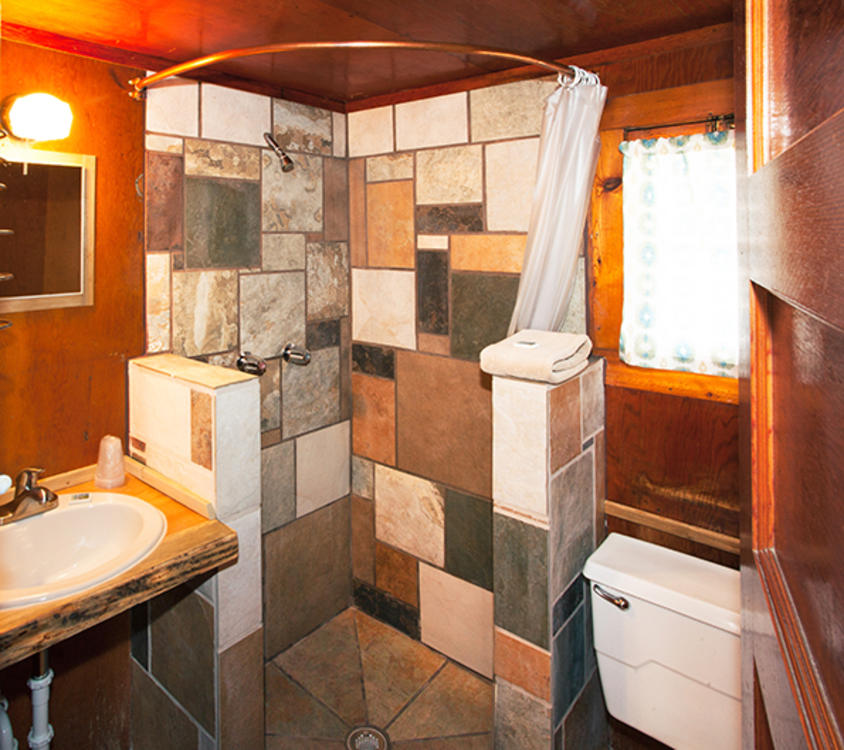 Tiny Town Upgraded Cabin Bathroom