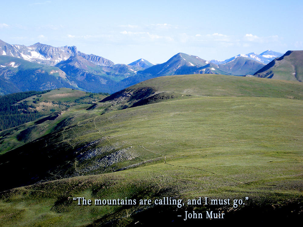 John Muir Quote on Mountain Picture