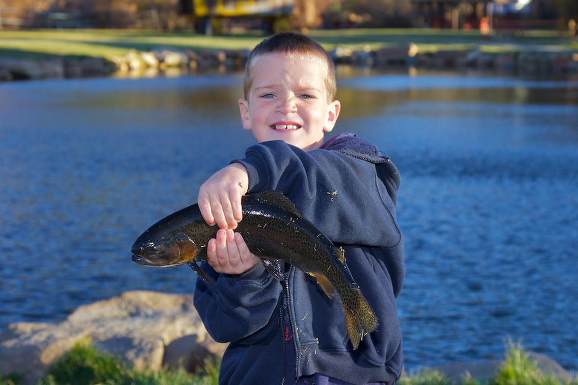 Boy with a Fish at Trout Haven Pond