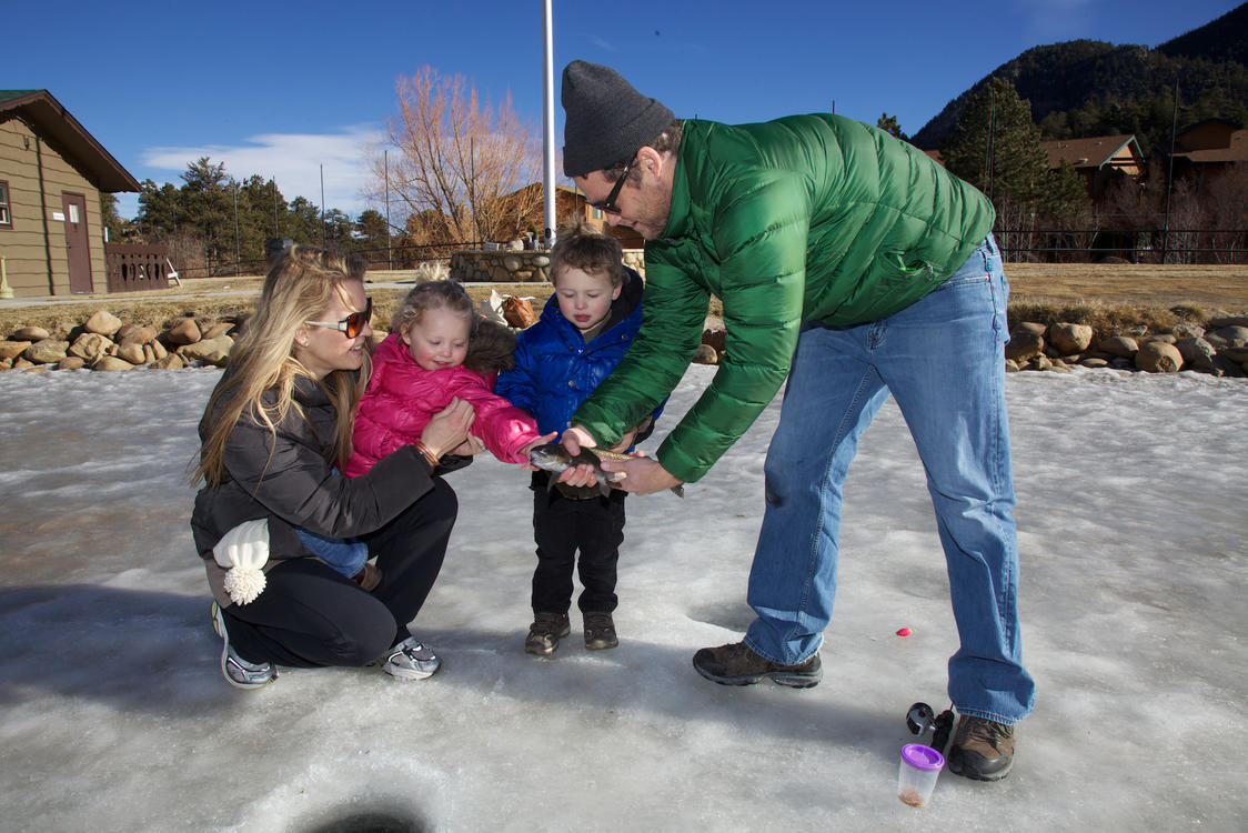 Family Fishing in Winter at Trout Haven Pond